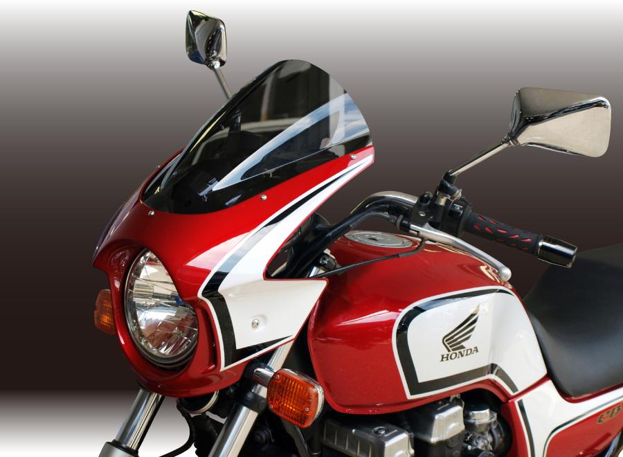Force-Design フォルスデザイン ビキニカウル・バイザー ビキニカウル スプリントスクリーン カラー:ブラック スクリーンカラー:ミラー CB750 (RC42) 92-08