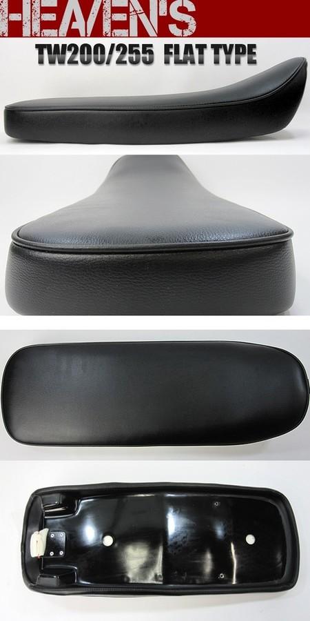HEAVENS ヘブンズ シート本体 フラットタイプシート スムース エナメルレザー:ブラック (受注生産) シートカラー:ブラック スタンダード 低反発シート無 TW200 TW225
