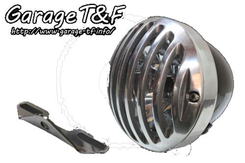 ガレージT&F ヘッドライト本体・ライトリム/ケース 4.5インチバードゲージヘッドライト&ライトステー(タイプB)キット バードゲージカバー:ポリッシュ仕上げ ヘッドライト:ブラック仕上 イントルーダークラシック400