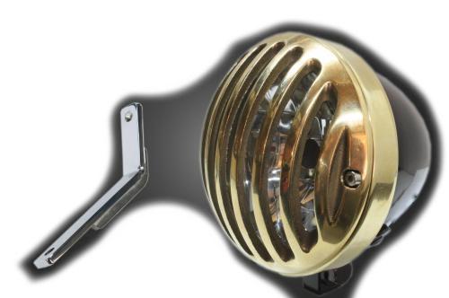 ガレージT&F ヘッドライト本体・ライトリム/ケース 4.5インチバードゲージヘッドライト&ライトステー(タイプD)キット ヘッドライト:ブラック仕上 スティード400
