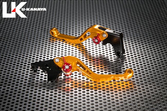 U-KANAYA ユーカナヤ スタンダードタイプショートアルミビレットレバーセット アジャスターカラー:チタン レバーカラー:ゴールド YZF-R1 2015-