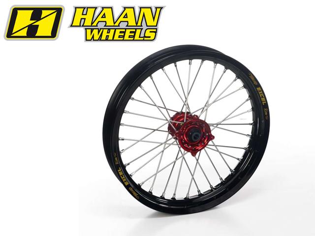 人気新品 HAAN WHEELS ハーンホイール ホイール本体 フロントモタードコンプリートホイール F3.50/17インチ カラー:ブラック カラー:レッド 690 (08-14), カスカワムラ 1f1adb17