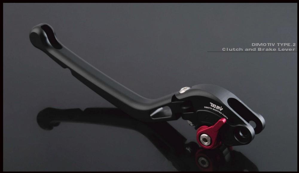 Dimotiv ディモーティヴ アジャスタブルレバー ブレーキ/クラッチセット マット仕様 タイプ2 ボディーカラー:ブラック(アジャスターカラー:レッド) RS4 125 RS4 50