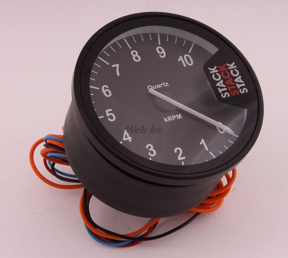 STACK スタック ST200 クラブマンタコメーター メーターパネルカラー:クラシックブラック(針=ホワイト) 表示回転数:0-3000-13000rpm