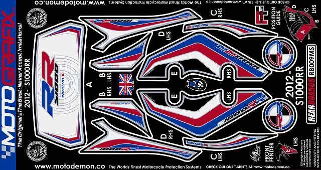 【ポイント5倍開催中!!】MOTOGRAFIX モトグラフィックス ステッカー・デカール ボディーパッド カラー:ホワイト/ブルー/レッド S1000RR 12-14