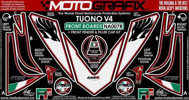 【ポイント5倍開催中!!】MOTOGRAFIX モトグラフィックス ステッカー・デカール ボディーパッド RSV4 R 11- TUONO1000R [トゥオノ]