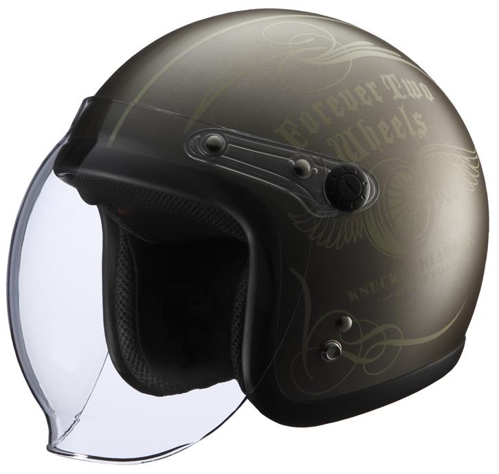 RIDEZ ライズ ナックルヘッド FLYWHEEL2 ジェットヘルメット カラー:ブラウン/アイボリー