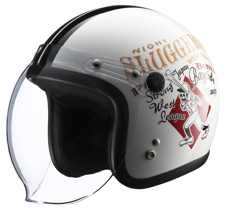 RIDEZ ライズ ナックルヘッド RJ605 PLAY BONES2 ジェットヘルメット カラー:ホワイト/ブラック