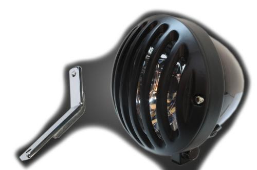 ガレージT&F ヘッドライト本体・ライトリム/ケース 4.5インチバードゲージヘッドライト&ライトステー(タイプD)キット バードゲージカバー:ブラック仕上げ ヘッドライト:ブラック仕上 スティード400