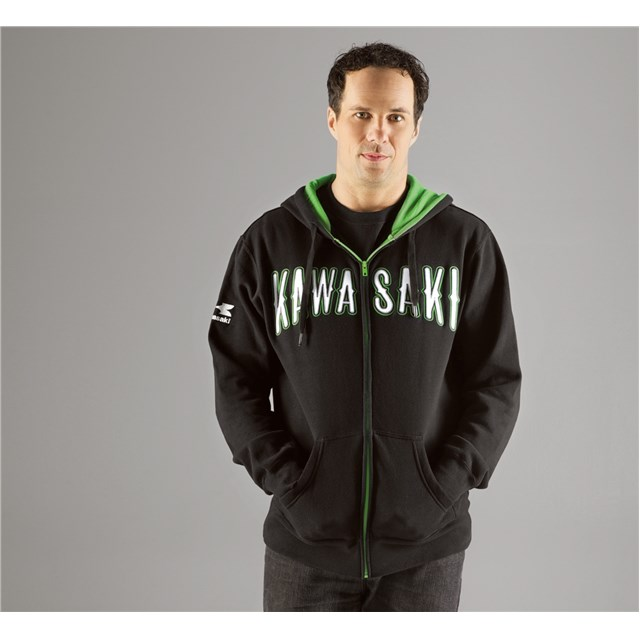 US KAWASAKI 北米カワサキ純正アクセサリー スタリオンジップフロントフードスウェットシャツ【Stallion Zip-Front Hooded Sweatshirt】