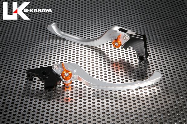 【在庫あり】U-KANAYA ユーカナヤ ツーリングタイプ アルミビレットレバーセット アジャスターカラー:レッド レバーカラー:シルバー ジェイド ゼルビス ブロス400 ブロス650