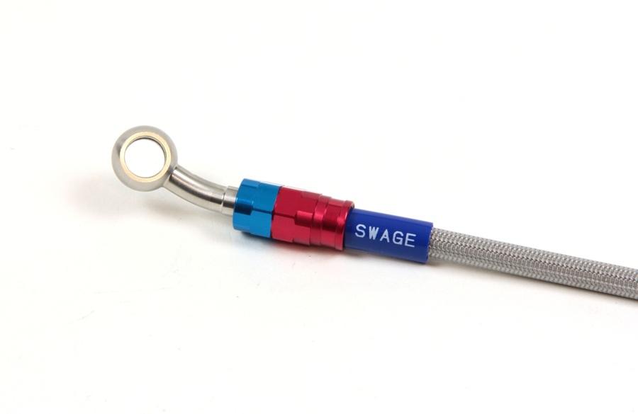 SWAGE-LINE スウェッジライン プロ 車種別ブレーキホースキット [フィッティング/バンジョー] レッド&ブルー/シルバー(アルミ/ステンレス) クリアコーティングホース ホース長:30mmロング