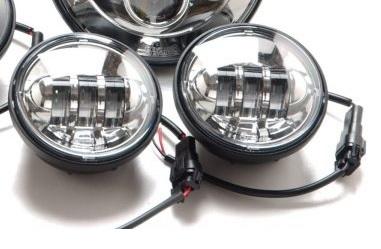 MOTORSTAGE モーターステージ ヘッドライト本体・ライトリム/ケース 4.5インチLEDフォグライト カラー:クローム