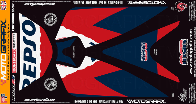 【ポイント5倍開催中!!】MOTOGRAFIX モトグラフィックス ステッカー・デカール ボディーパッド CBR1000RR 06-07