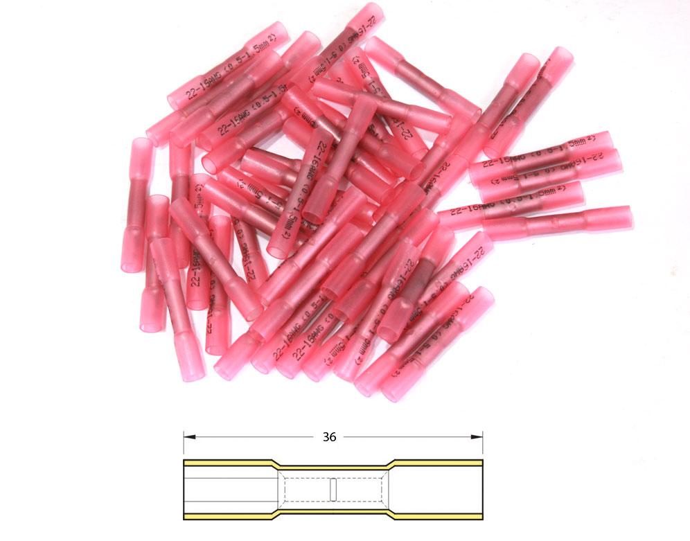 ヨーロッパ輸入商品 各種配線部材・用品 Heat-shrinkable Butt Splices Crimping Φ0,5 / 1,5mm2 - 50pcs Transparent Red【ヨーロッパ直輸入品】