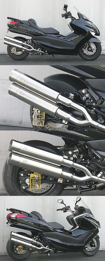 WirusWin ウイルズウィン フルエキゾーストマフラー スタイリッシュツインマフラー バズーカータイプ キャタライザー付 (排ガス浄化触媒) マジェスティ250(SG20J)