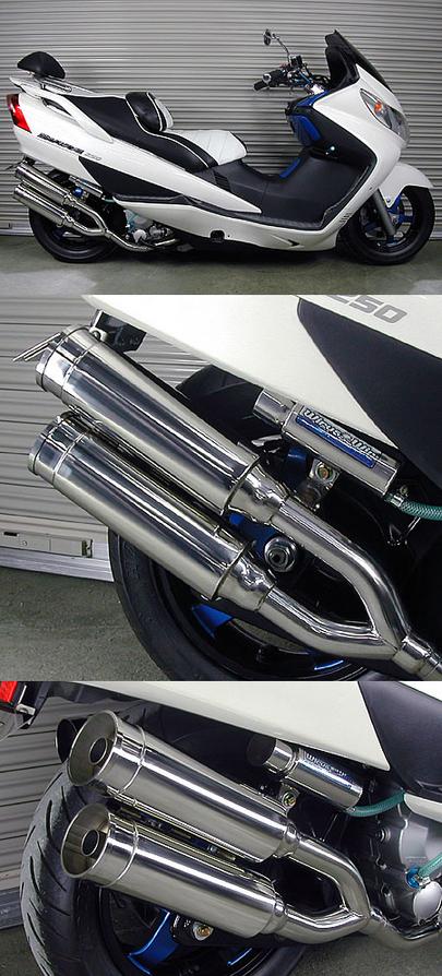ファッションなデザイン WirusWin ウイルズウィン サイドバイサイドマフラー バズーカータイプ キャタライザー付 排ガス浄化触媒 スカイウェイブ250, プロショップ ベルズ 39c203b9