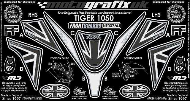 MOTOGRAFIX モトグラフィックス ステッカー・デカール ボディーパッド TIGER1050 [タイガー1050]