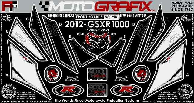 【ポイント5倍開催中!!】MOTOGRAFIX モトグラフィックス ステッカー・デカール ボディーパッド カラー:ホワイト/ブラック(ブラック) GSX-R1000 L2