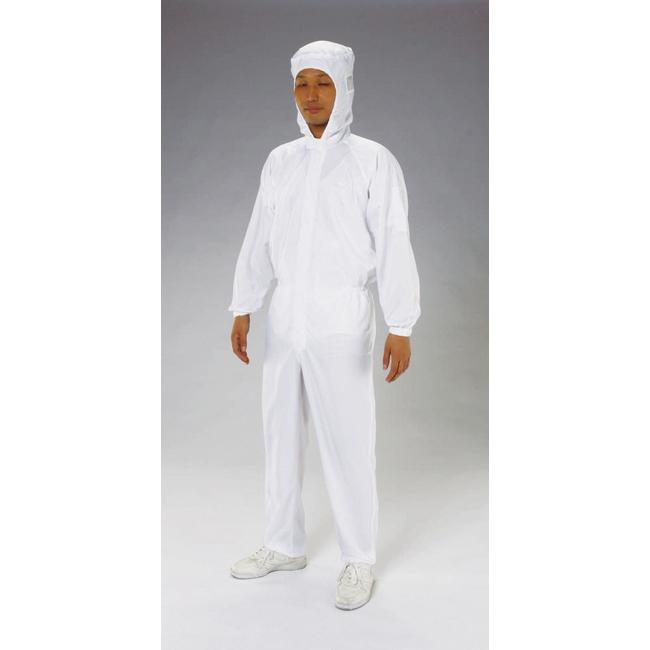 ESCO エスコ [3L]クリーンルーム用フード付継ぎ服(白/センターファスナー)