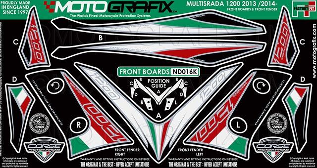 MOTOGRAFIX モトグラフィックス ステッカー・デカール ボディーパッド カラー:ブラック/トリコローレ MULTISTRADA 1200 [ムルティストラーダ]