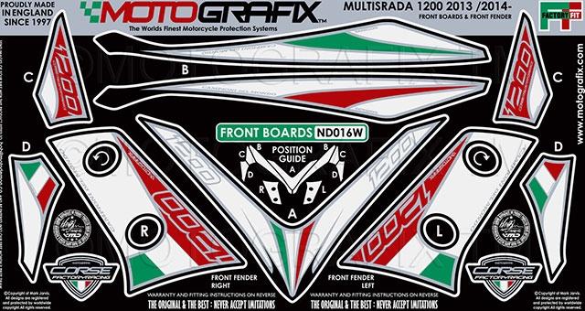 【ポイント5倍開催中!!】MOTOGRAFIX モトグラフィックス ステッカー・デカール ボディーパッド カラー:ホワイト/トリコローレ MULTISTRADA 1200 [ムルティストラーダ]