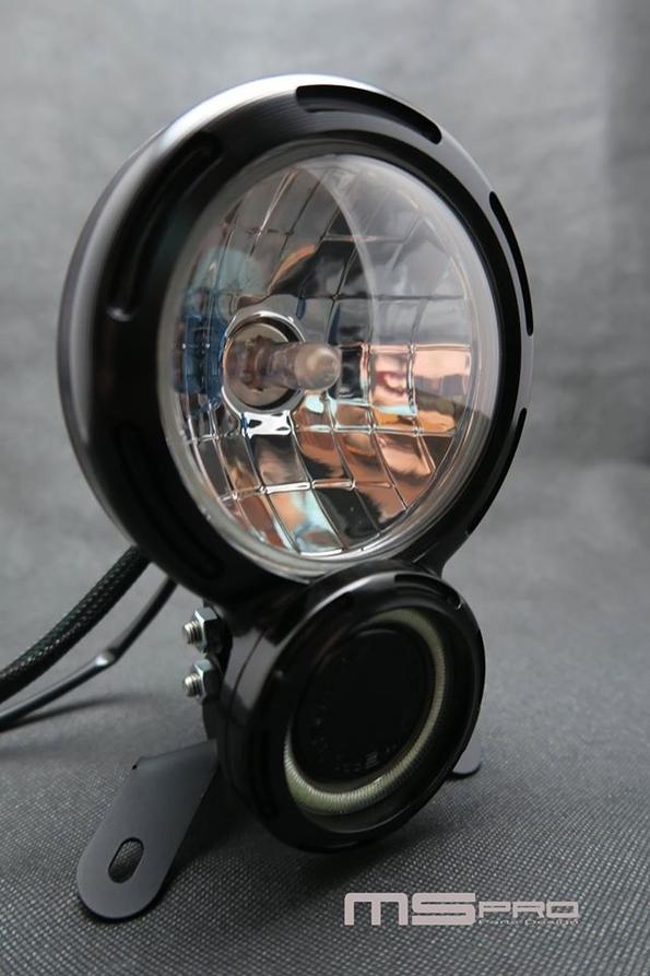 ヘッドライト本体・ライトリム/ケース 8タイプヘッドライト COBAperture color:White light H4 Lamp Specifications:Yellow light Headlights Body color:Gray