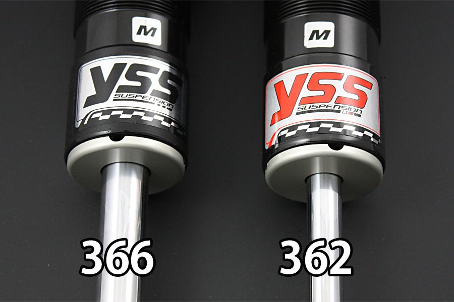 YSSリアサスペンションSPORTSLINEリアツインショック【Gシリーズ】G366スプリングカラー:レッド(シングルレート・27N/mm)ボディーカラー:シルバーINAZUMA400
