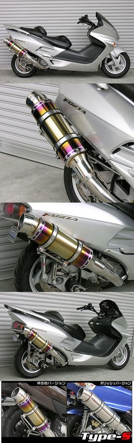 WirusWin ウイルズウィン フルエキゾーストマフラー ビーストマフラー タイプS 焼き色バージョン キャタライザー付 (排ガス浄化触媒) フォルツァ(MF06)