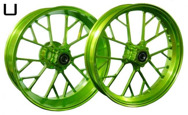 WUKAWA ウカワ ホイール本体 アルミニウム鍛造ホイール Type-U カラー:Apple Green NINJA ZX-10R 06-10