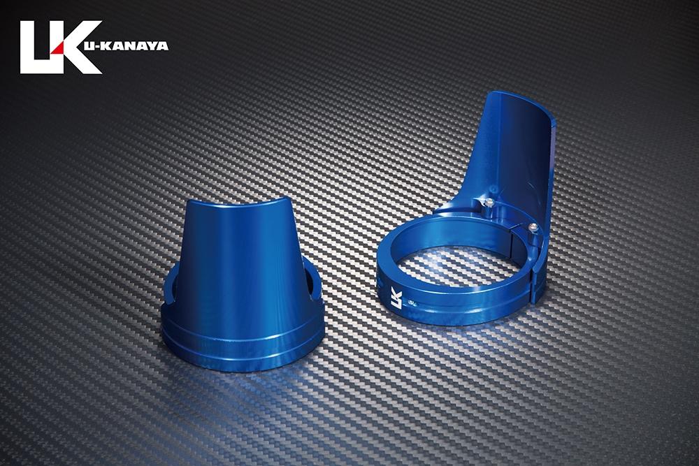U-KANAYA ユーカナヤ ガード・スライダー アルミビレットフロントフォークガード ガードカラー:ブルー ガードリングカラー:グリーン ドラッグスター400