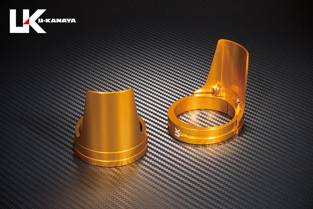 U-KANAYA ユーカナヤ ガード・スライダー アルミビレットフロントフォークガード ガードカラー:ゴールド ガードリングカラー:ブルー XJR400R