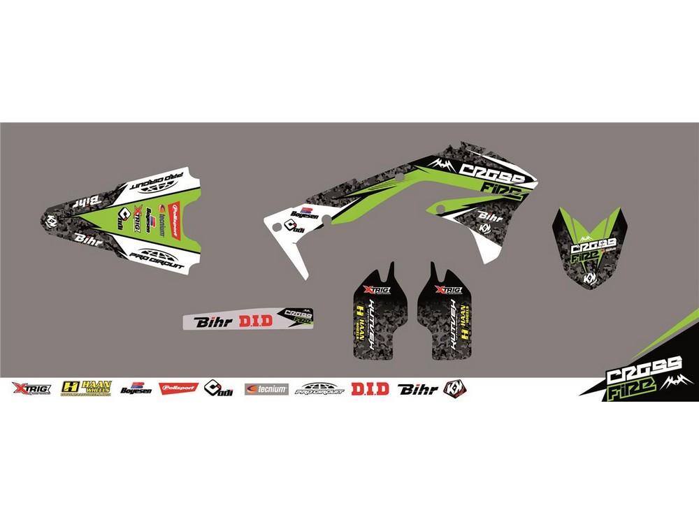 クヴェック ステッカー・デカール KUTVEK CROSS FIRE graphic green Kawasaki KX125 kit / 250【ヨーロッパ直輸入品】 KX125 (125) 03-08 KX250 (250) 03-08