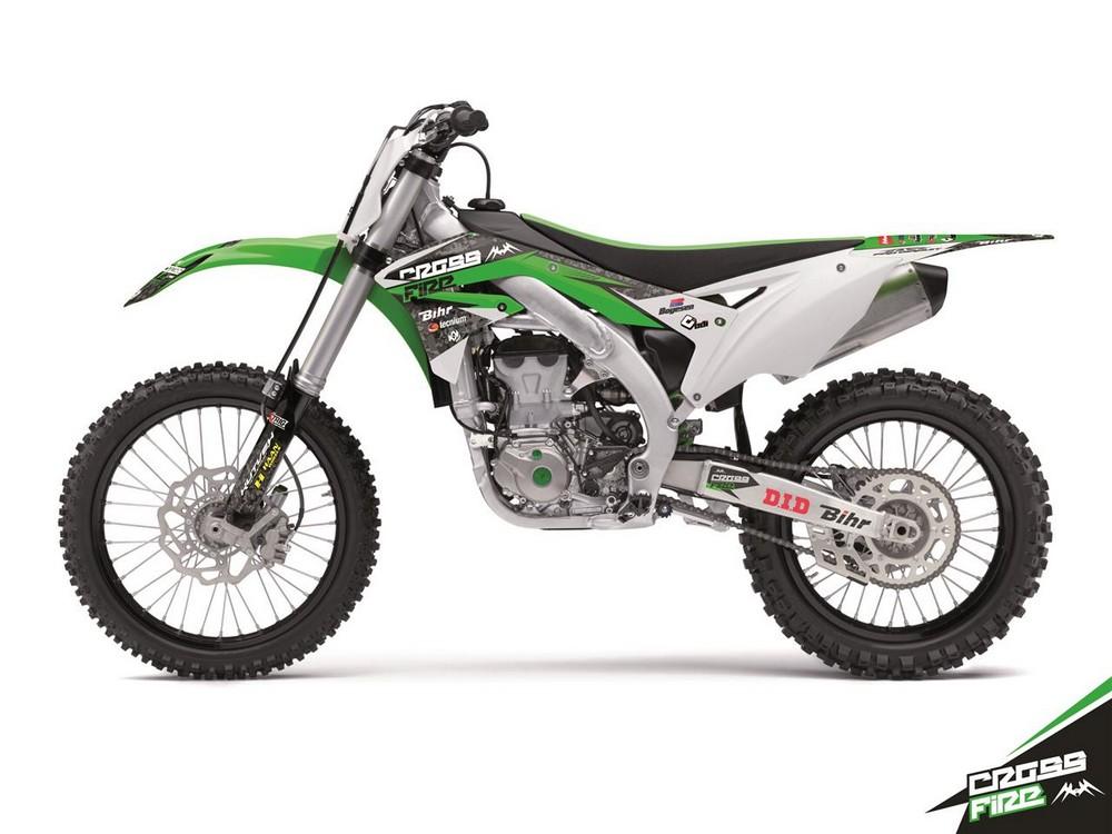 クヴェック ステッカー・デカール KUTVEK CROSS FIRE graphic kit Kawasaki KX450F green【ヨーロッパ直輸入品】 KX450F (450) 12-15