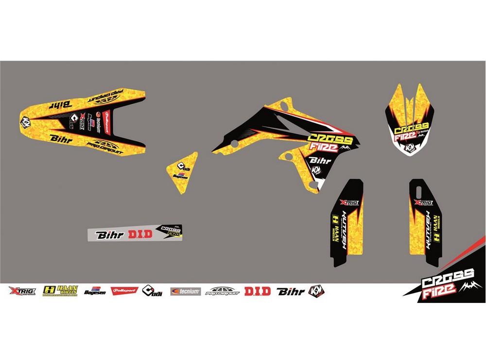 クヴェック ステッカー・デカール KUTVEK CROSS FIRE graphic kit yellow Suzuki RM125 / 250【ヨーロッパ直輸入品】 RM125 (125) 01-08 RM250 (250) 01-08