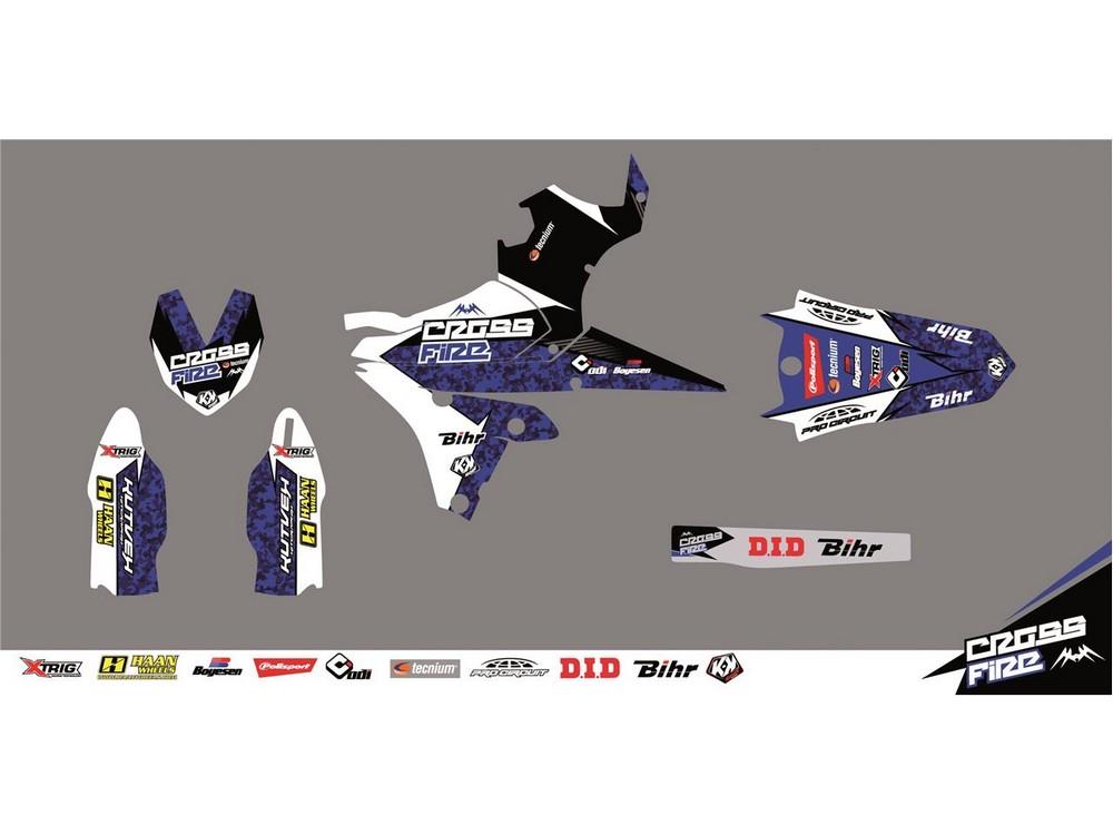 クヴェック ステッカー・デカール KUTVEK CROSS FIRE graphic kit Yamaha YZ450F blue【ヨーロッパ直輸入品】 YZ450F (450) 10-13
