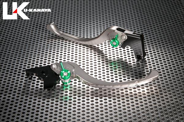 【在庫あり】U-KANAYA ユーカナヤ ツーリングタイプ アルミビレットレバーセット アジャスターカラー:ブラック レバーカラー:チタンカラー GSX250S カタナ GSX400S カタナ