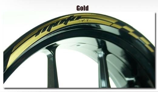 外装 MOTOINKZ モトインクズ WSdesign5-F16-R17-Gold  MOTOINKZ モトインクズ ステッカー・デカール ホイール・リムステッカー5(Wheel Stripes design 5) フロントホイールサイズ(front):16inch リアホイールサイズ(Rear):17inch