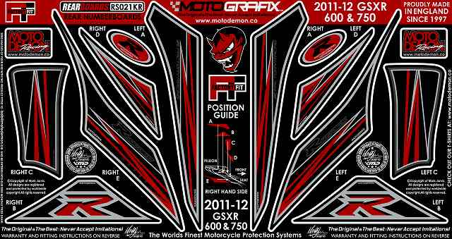 【ポイント5倍開催中!!】MOTOGRAFIX モトグラフィックス ステッカー・デカール ボディーパッド GSX-R600 GSX-R750