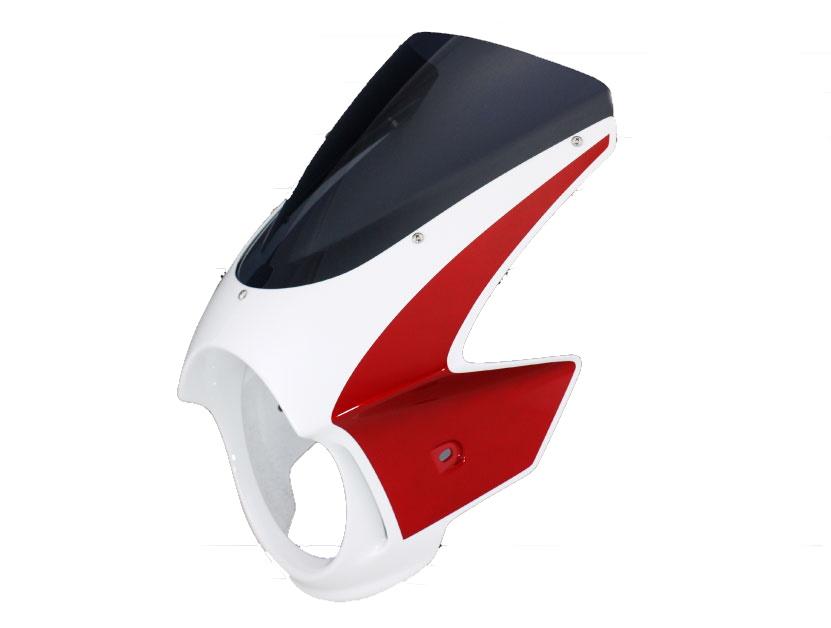 Force-Design フォルスデザイン ビキニカウル・バイザー ビキニカウル エンデュランススクリーン カラー:ツートン (レッド/ホワイト) スクリーンカラー:スモーク CB1000SF 92-97