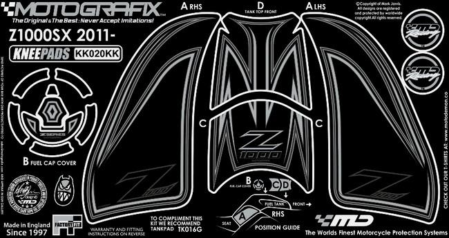【ポイント5倍開催中!!】MOTOGRAFIX モトグラフィックス ステッカー・デカール ボディーパッド カラー:ブラック/ブラック/グレー Z1000[ZRT00D](10-11)