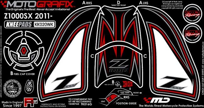 【ポイント5倍開催中!!】MOTOGRAFIX モトグラフィックス ステッカー・デカール ボディーパッド カラー:ホワイト/ブラック/レッド Z1000[ZRT00D](10-11)