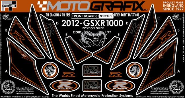 【ポイント5倍開催中!!】MOTOGRAFIX モトグラフィックス ステッカー・デカール ボディーパッド カラー:ブラック/オレンジ GSX-R1000 L2