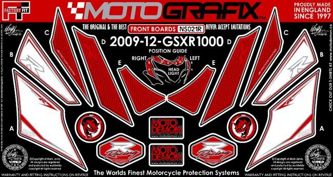 【ポイント5倍開催中!!】MOTOGRAFIX モトグラフィックス ステッカー・デカール ボディーパッド カラー:レッド/ホワイト GSX-R1000 L2