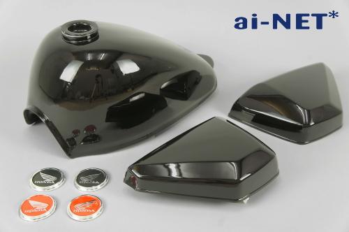 ai-net アイネット モンキー 5L燃料タンク(ガソリンタンク) サイドカバーセット カラー:ブラック モンキー