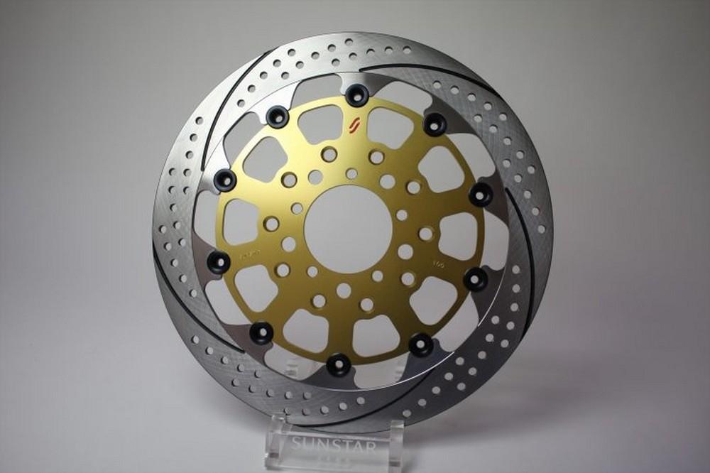 【イベント開催中!】 SUNSTAR サンスター PREMIUM RACING [プレミアムレーシング] フロントディスクローター アウターローター:ホール&スリットタイプ フローティングピンカラー:ゴールド SCRAMBLER Sixty2