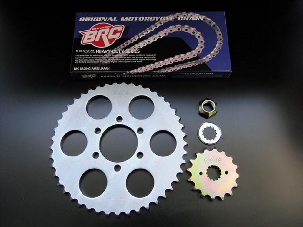 BRC ビーアールシー スチールスプロケ&シルバーチエン530サイズキット GT380