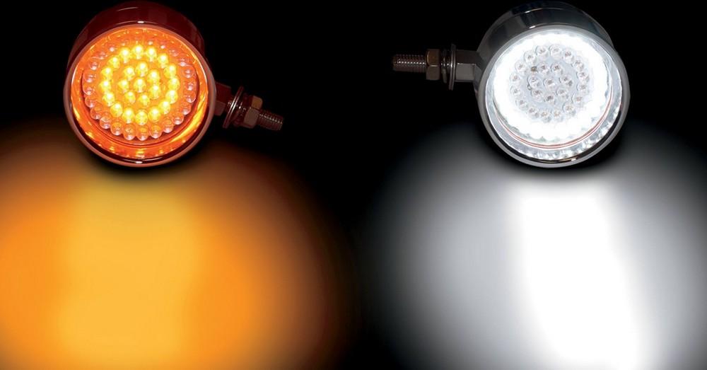 CUSTOM DYNAMICS カスタムダイナミックス その他灯火類 マーカーランプ アンバー/ホワイト クローム 【LIGHT BILL AMB/WHT CHR [2020-0581]】