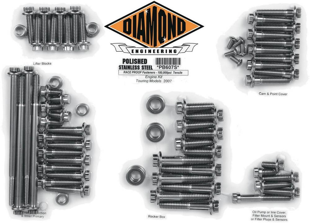 DIAMOND ENGINEERING ダイアモンドエンジニアリング ボルトキットエンジン 07-16 FL 【BOLT KIT ENG 07-16 FL [2401-0250]】