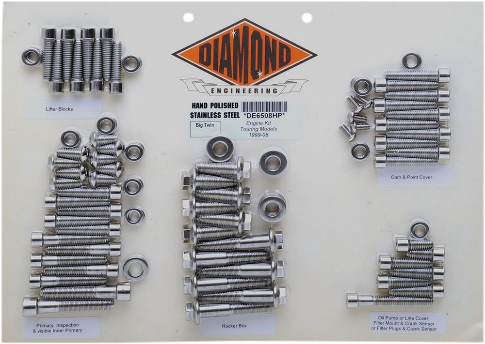 DIAMOND ENGINEERING ダイアモンドエンジニアリング ボルトキットエンジン FLT 99-06 【BOLT KIT ENGINE FLT 99-06 [2401-0261]】
